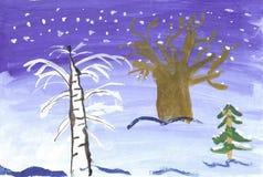 Barn som drar vinterlandskap Arkivbild