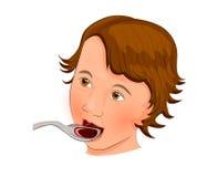 Barn som dricker sirapen från en sked royaltyfri illustrationer