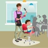 Barn som får en frisyr på frisören royaltyfri illustrationer