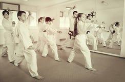 Barn som försöker krigs- flyttningar i karategrupp Fotografering för Bildbyråer