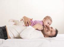 Fader med barnet Arkivbilder