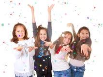 Barn som firar partit Arkivfoto