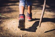 Barn som fotvandrar i berg eller skog med sporten som fotvandrar skor Arkivfoton