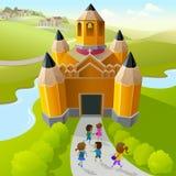 Barn som går att pencil skolan royaltyfri illustrationer
