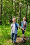 Barn som går i skog royaltyfria bilder