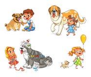 Barn som går med hunden vektor illustrationer