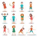 Barn som gör illustrationen för sportvektorlägenhet stock illustrationer