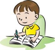 barn som gör läxa Arkivbild