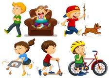 Barn som gör olika aktiviteter stock illustrationer