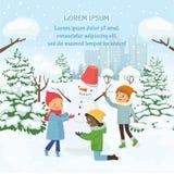 Barn som gör snögubben på bakgrunden av den snöig staden royaltyfri illustrationer