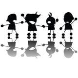 barn som gråter silhouettes Arkivbilder