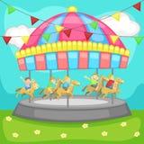 Barn som har en bra tid i en karusell stock illustrationer