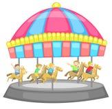 Barn som har en bra tid i en karusell med whi royaltyfri illustrationer