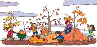 Barn som har en bra tid i höstlandskap (v stock illustrationer