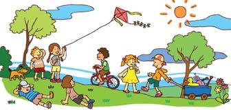 Barn som har en bra tid i sommarlandskap (v stock illustrationer