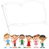 Barn som har en flagga Royaltyfri Bild