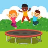Barn som har gyckel på en lycklig sommartidsemester vektor illustrationer