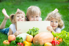 Barn som har picknicken Arkivbild