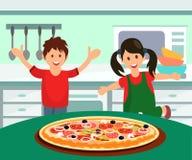 Barn som har pizza för plan illustration för lunch royaltyfri illustrationer