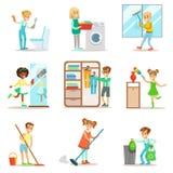 Barn som hjälper med hem- rengöring och att tvätta golvet och att kasta ut avskräde, tvättande Windows och spegeln vektor illustrationer