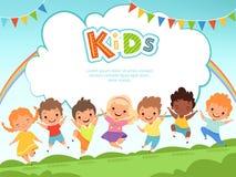 Barn som hoppar bakgrund Lyckliga ungar som spelar mannen och kvinnlign på lekplatsvektormall med stället för din text vektor illustrationer