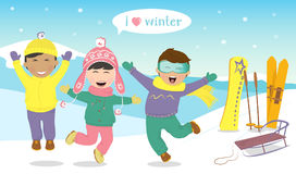 Barn som hoppar och skrattar på backen stock illustrationer