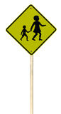 Barn som korsar roadsign på vit bakgrund Arkivfoton