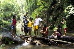 barn som leker floden Arkivbild