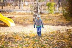 Barn som leker med den fallna hösten, låter vara i park Royaltyfri Foto