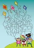 Barn som leker med drakeMazeleken vektor illustrationer