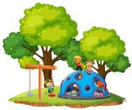 Barn som leker på parkera vektor illustrationer