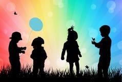 barn som leker utomhus royaltyfri illustrationer