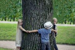 Barn som omfamnar trädet Utomhus- natur för miljöskydd Beskydd utomhus royaltyfria bilder