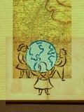 Barn som omringar ett jordklot med en översikt Vektor Illustrationer