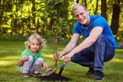 Barn som planterar trädplantan royaltyfria bilder