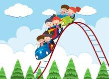 Barn som rider berg-och dalbanan stock illustrationer
