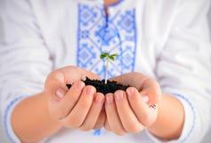 Barn som rymmer den unga växten med jord i händer som befruktning för jorddag royaltyfria bilder