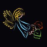 Barn som rymmer en brinnande stearinljus och ängel vektor illustrationer