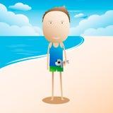 Barn som rymmer en docka på stranden royaltyfri illustrationer