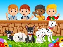 Barn som ser hundkapplöpning över väggen Arkivfoton