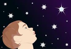 Barn som ser stjärnan Arkivbild