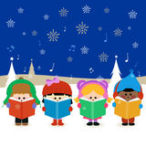 Barn som sjunger julsånger Fotografering för Bildbyråer