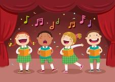 Barn som sjunger på etappen stock illustrationer