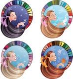 Barn som skrattar kvinnor som färgas av säsongsbetonat Arkivfoton