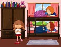 Barn som sover, i bunkbed, och en, flicka som får klänningen royaltyfri illustrationer