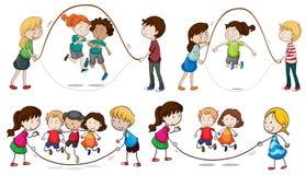 Barn som spelar överhopprepet vektor illustrationer
