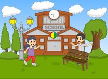 Barn som spelar bollen på illustrationen för skolatecknad filmvektor stock illustrationer