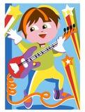 Barn som spelar den elektriska gitarren Arkivfoton