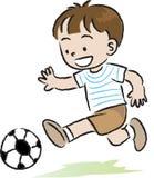 Barn som spelar fotbollen Arkivfoto