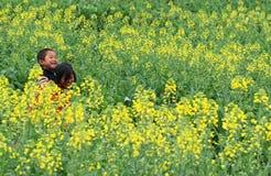 Barn som spelar i blommafältet Fotografering för Bildbyråer